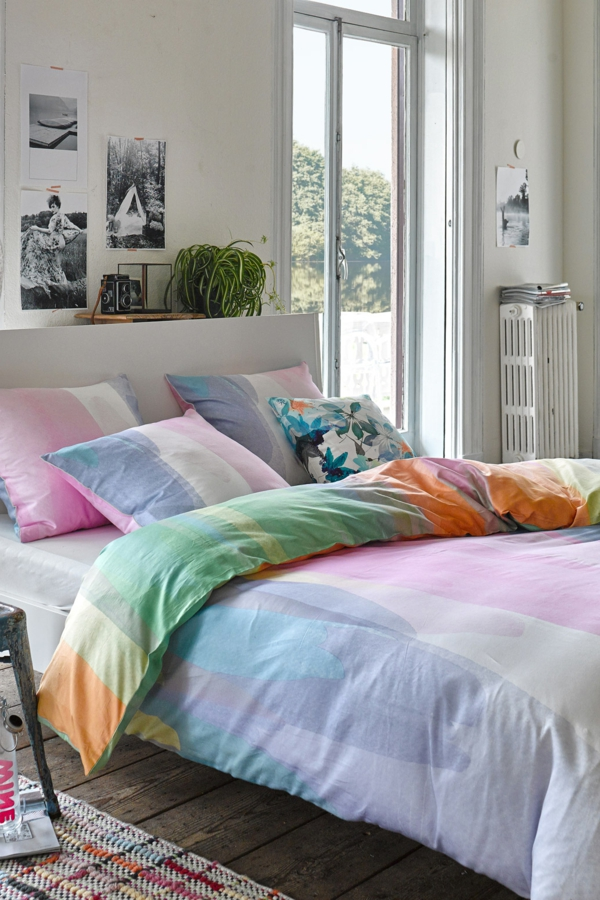 schlafzimmer-inspiration- schlafzimmer-gestalten-schöne-bettwäsche--in-vielen-farben