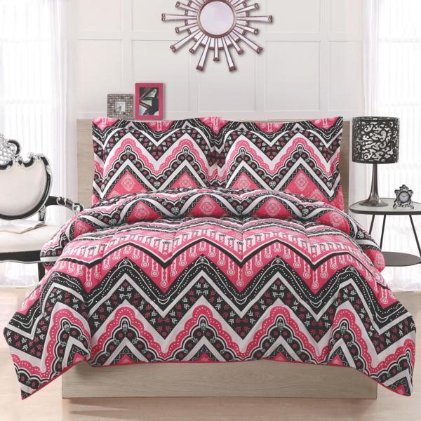 schlafzimmer-inspiration- schlafzimmer-gestalten-schöne-bettwäsche-rosa-grau
