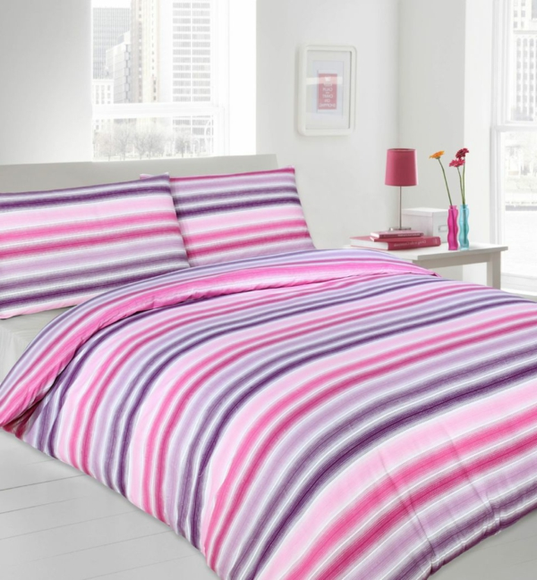 schlafzimmer-inspiration- schlafzimmer-gestalten-schöne-bettwäsche-rosa-lila