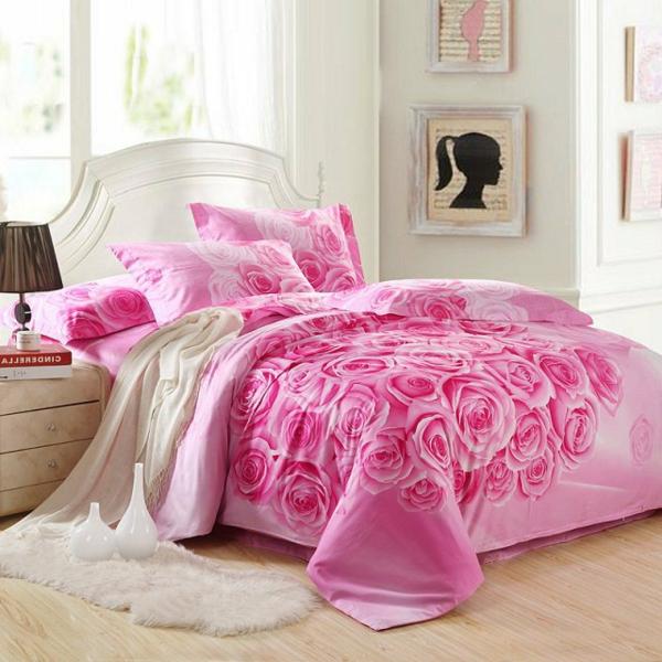 schlafzimmer-inspiration- schlafzimmer-gestalten-schöne-bettwäsche-rosa-rosen