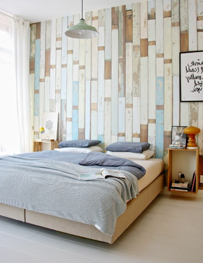 schlafzimmer-tapeten-ideen-schöne-tapeten-holzoptik-wandgestaltung-wand-holzoptik