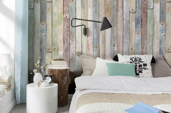 holz tapete wohnzimmer:schlafzimmer-tapeten-ideen-schöne-tapeten-holzoptik-wandgestaltung