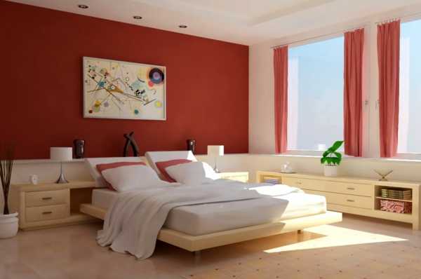 Rote Wand - 50 Ideen Mit Wandfarbe Rot ! - Archzine.net Schlafzimmer Ideen Bordeaux