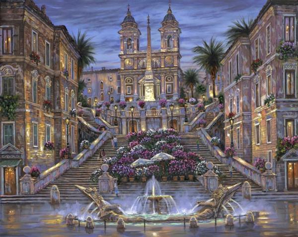 spanische-treppe-einmaliges-bild - malerei