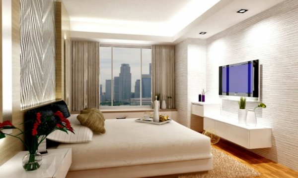 stunning-apartment-interior-designs-bedroom-wooden-floor-led-tv