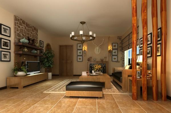 42 moderne modelle von trennwand aus holz - Wohnzimmer trennwand ...