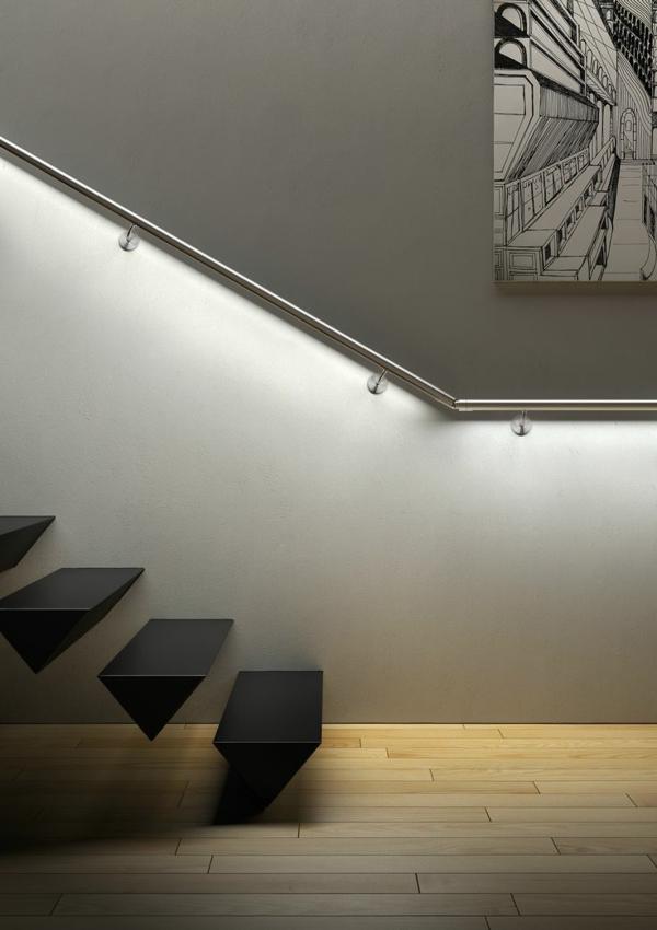 Treppen Beleuchtung Attraktive Wandgestaltung Mit Einem Bild