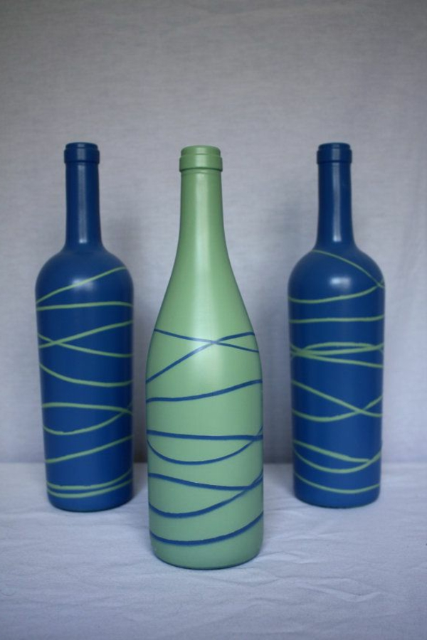 vasen-dekorieren-blaue-und-grüne-farbe