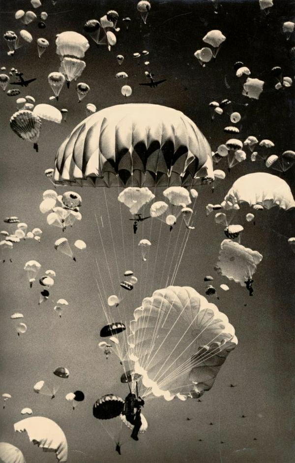 viele-Fallschirme-Medusen-schwarz-weiß-Foto