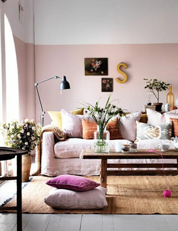 wohnzimmer gestalten rosa:Schaffen Sie eine gemütliche Atmosphäre im Zimmer – Holzwand Ideen