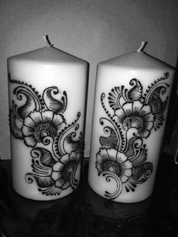 weiße-Kerzen-Henna-Dekoration