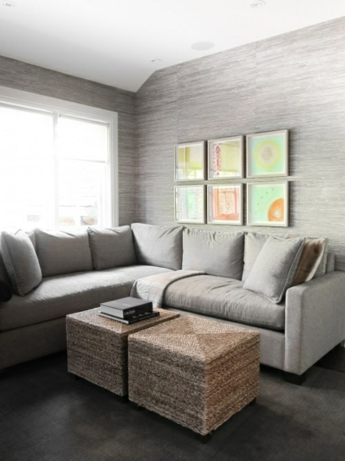 Tapete In Grau - Stilvolle Vorschläge Für Wandgestaltung ... Graue Tapete Wohnzimmer
