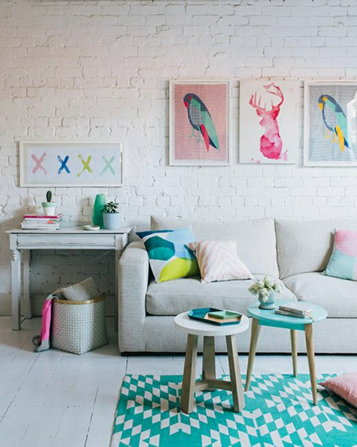 pastell farbpalette bei der inneneinrichtung - 47 ideen - archzine.net - Wohnzimmer Ideen Bunt