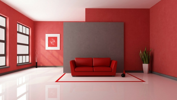 Rote wand 50 ideen mit wandfarbe rot for Wohnzimmer wand design