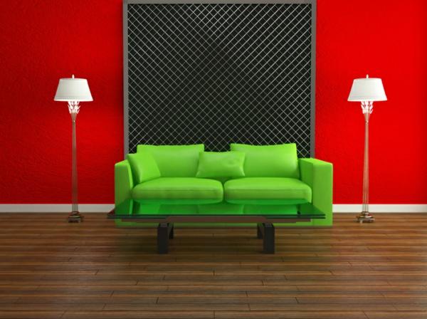wohnzimmer rote wand: -wohnzimmer-moderne-wandgestaltung-rote-wand-grünes-sofa
