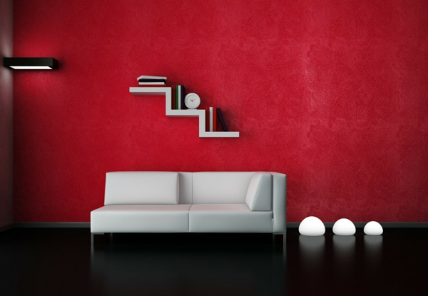 wohnzimmer rote wand: -wohnzimmer-moderne-wandgestaltung-weißes-sofa-rote-wand