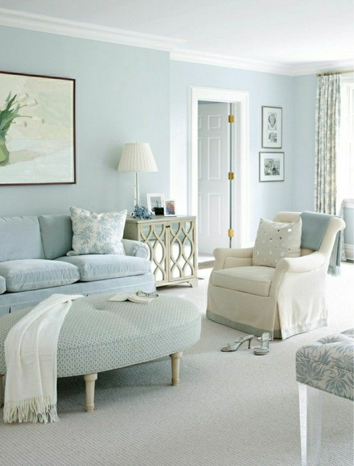 Wohnzimmerwand ideen blau  Pastell Farbpalette bei der Inneneinrichtung - 47 Ideen - Archzine.net