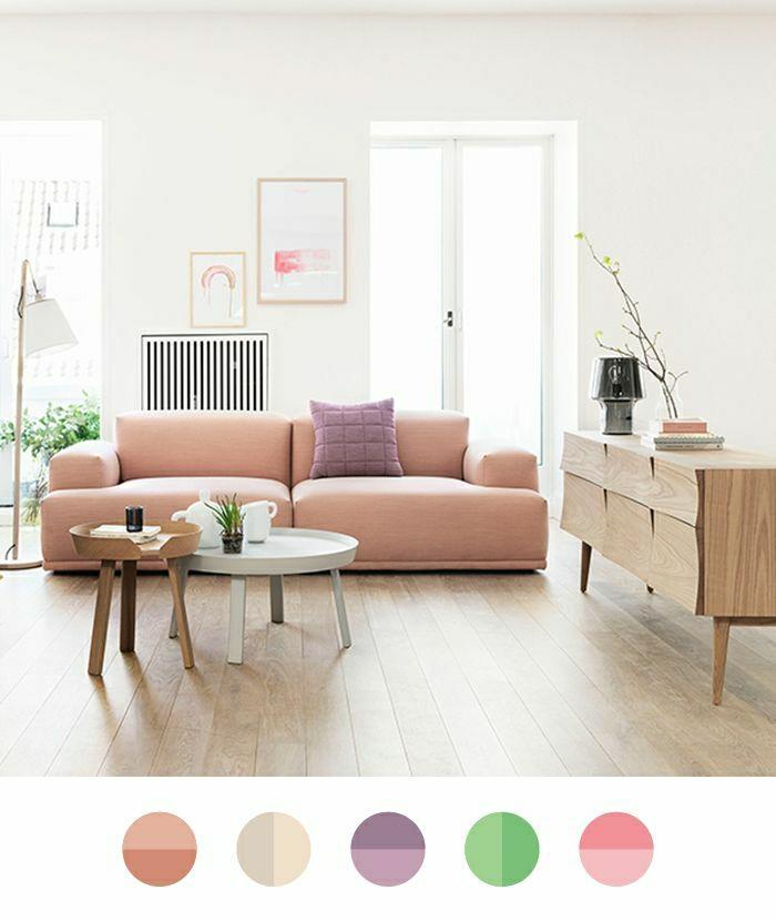 Wandmalerei Wohnzimmer Ideen: Pastell Farbpalette Bei Der Inneneinrichtung