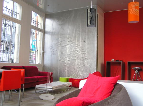 wohnzimmer in grau und rot. Black Bedroom Furniture Sets. Home Design Ideas
