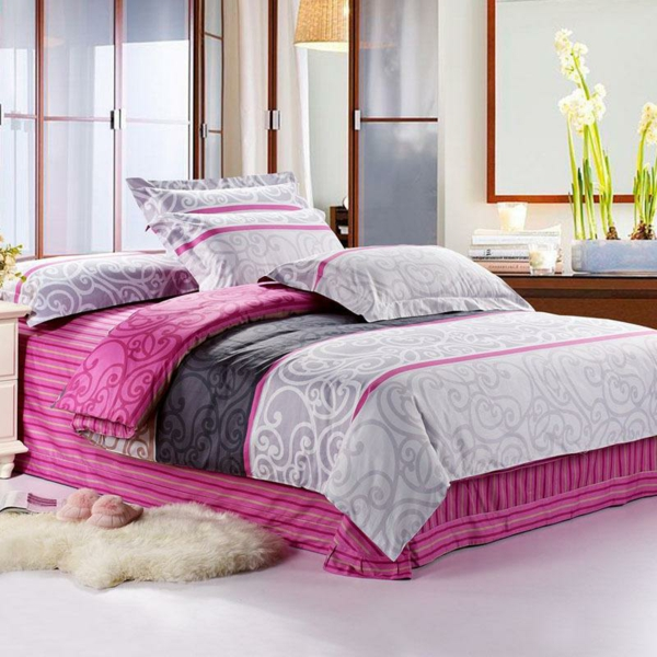wunderbares-schlafzimmer-einrichten-schöne-bettwäsche-rosa-schlafzimmer-ideen Bettwäsche in Rosa