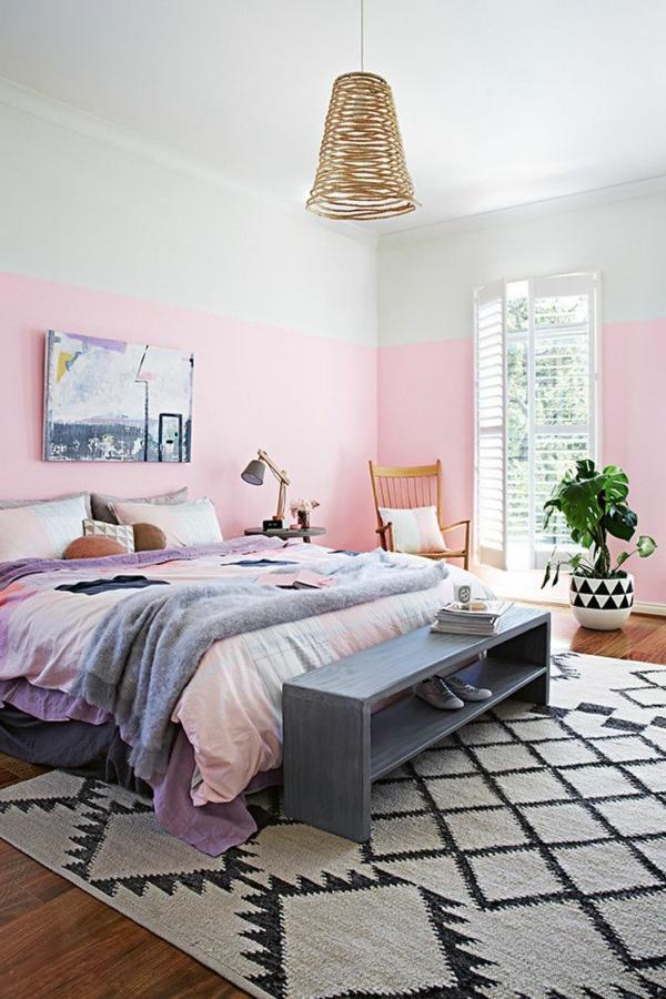 wunderschöne-wandgestaltung-in-hellrosa-und_grau-schlafzimmer-einrichten