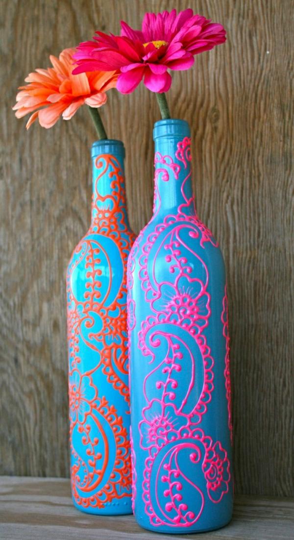 Weinflaschen-Henna-Türkisblau-Koralle-Orange-Rosa-Blumen-Gerbera