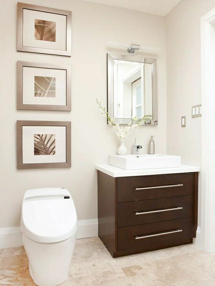 Badezimmer-beige-braun-Spiegel-elegante-Bilder