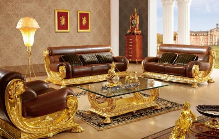 Barock-Stil-italienische-Möbel-Leder-Gold-Tapete-mit-Ornamenten