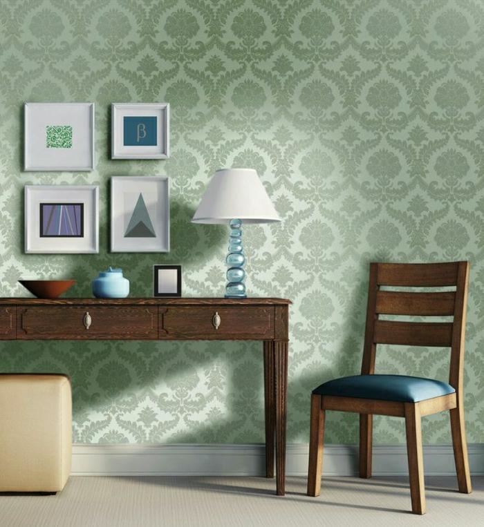 Barock-Tapete-aktuelle-Farbe-Bilder-Lampe-Hocker-Stuhl-Schreibtisch