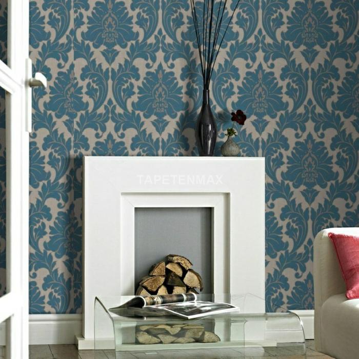 wohnzimmer komplett weiß - Barock Tapete Wohnzimmer Weis