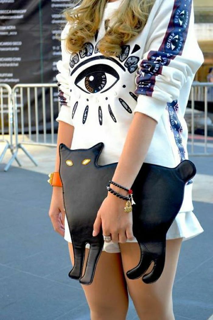 Bluse-Boho-Chic-Stil-Clutch-Katze-schwarz