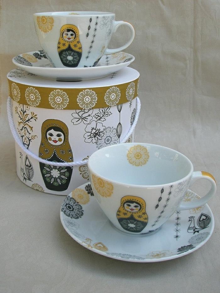Cappuccino-Tassen-Set-Matryoshka-Porzellan