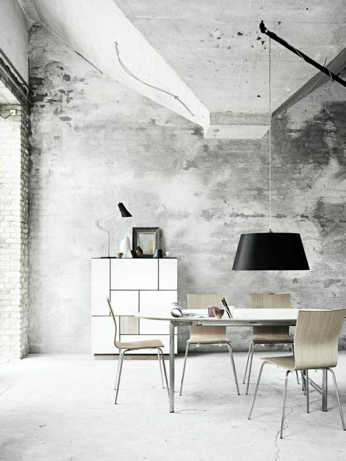 Esszimmer-grau-skandinavisches-Interieur-minimalistisch-industriell-Ziegelwände