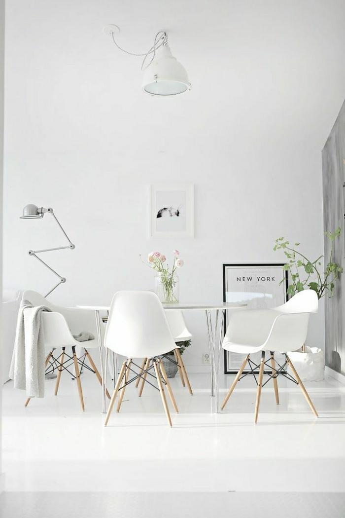 Esszimmer-weiß-skandinavisch-Baby-Bild-industriale-Lampe
