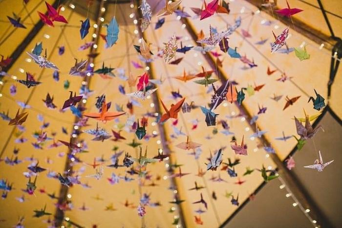 Garten-Hochzeit-Tausend-Origami-Kraniche-hängende-Dekoration