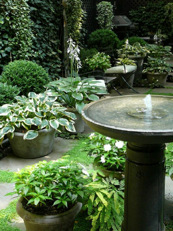 Garten-Pflanzen-Töpfe-Wasserbrunnen