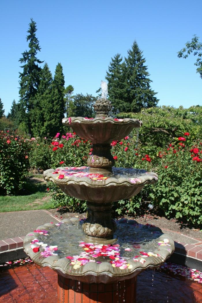 Garten-Wasserbrunnen-Rosenblätter-aristokratisch