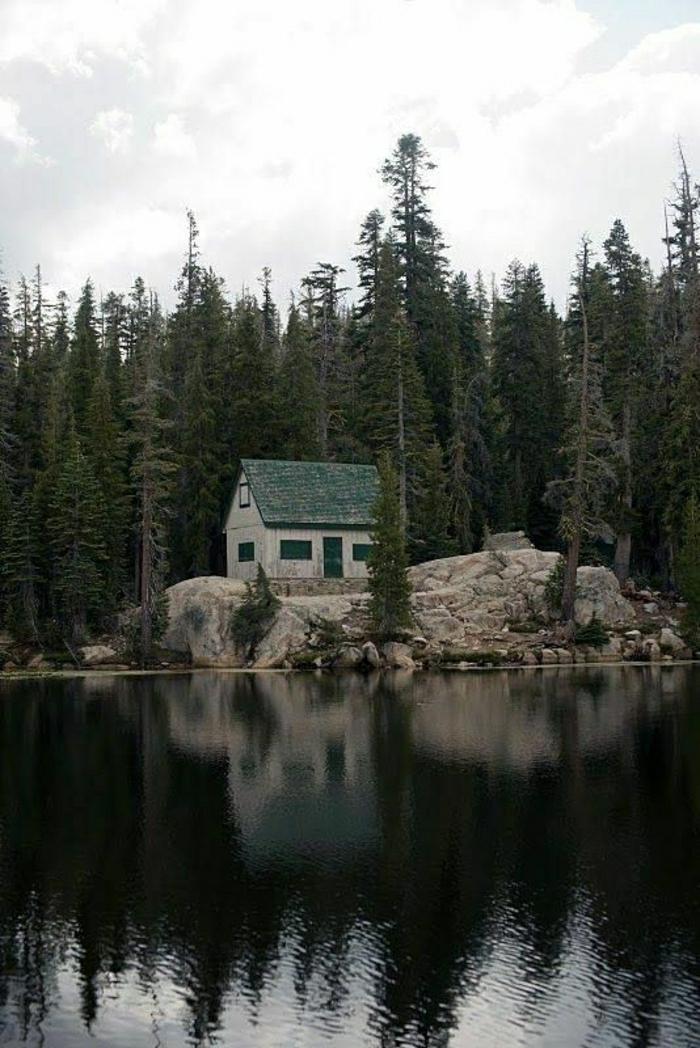 Gebirge-Hütte-Wald-Nadelbäume-See