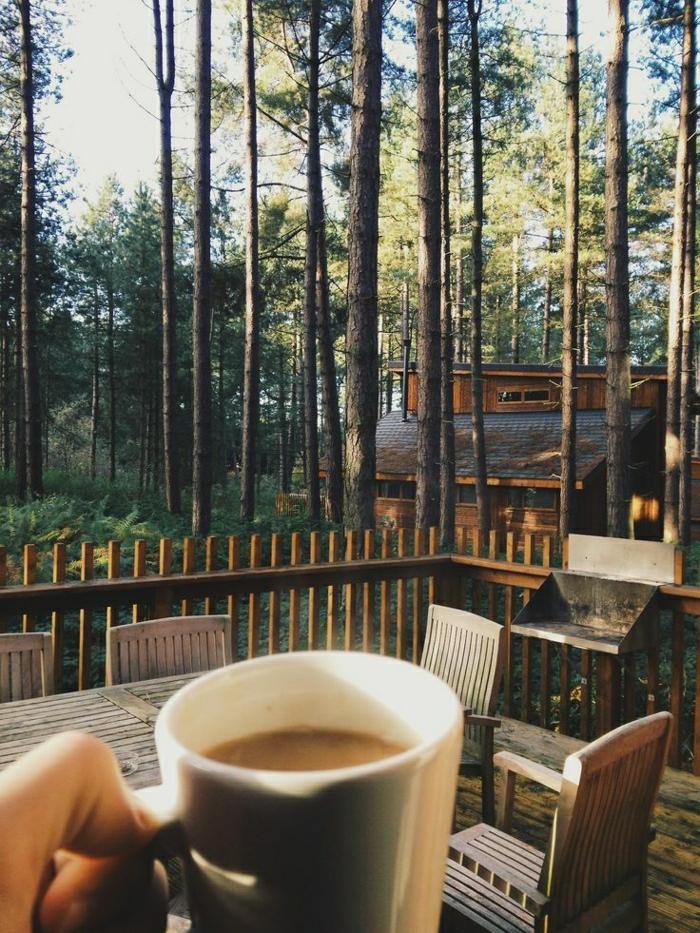 Gebirge-Wald-Hütten-Häuser-Veranda-Morgen-Kaffee