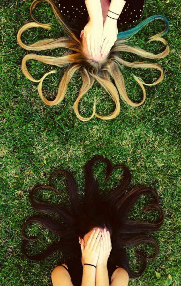 Gras-Mädchen-lange-Haare-Blondine-Brünette-kreative-Idee