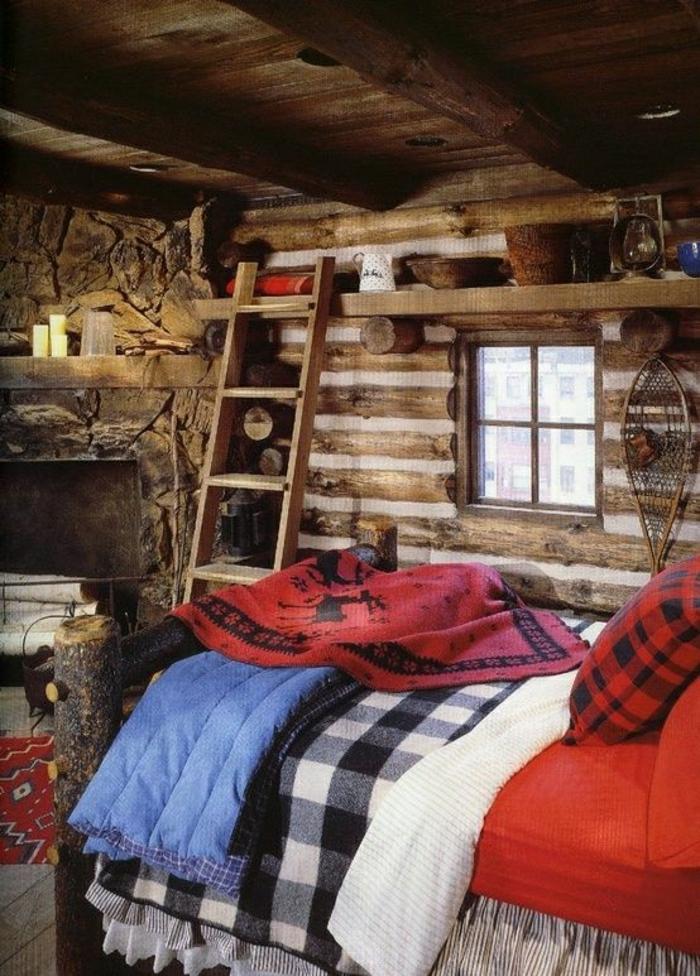 Hütte-Holz-rustikales-Interieur-Leiter-Kamin