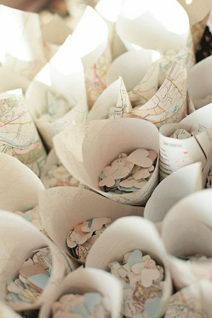 Hochzeit-Idee-Papierkornette-Herzen