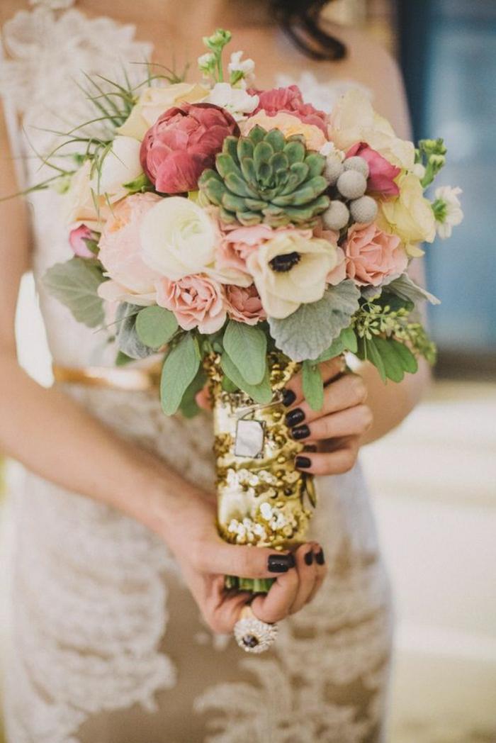 Hochzeit-Strauß-Kaktus-Pfingstrosen