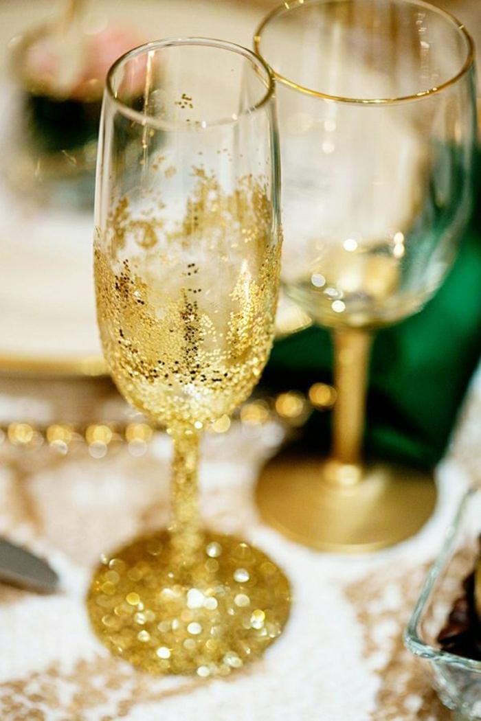 Hochzeitsglas-goldene-Dekoration