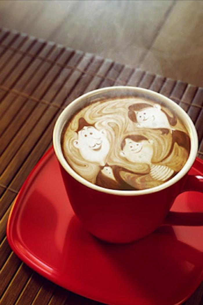 Kaffee-Art-rote-Cappuccino-Tasse