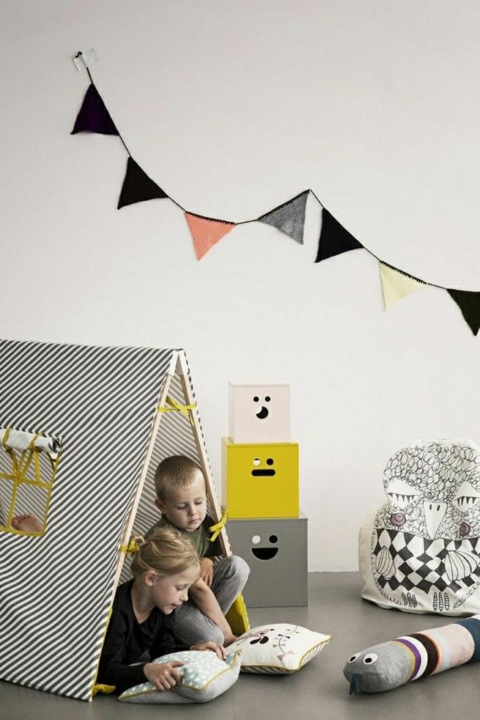 Kinderzimmer-skandinavisches-Interieur-Kinder-Zelt-Spielzeuge