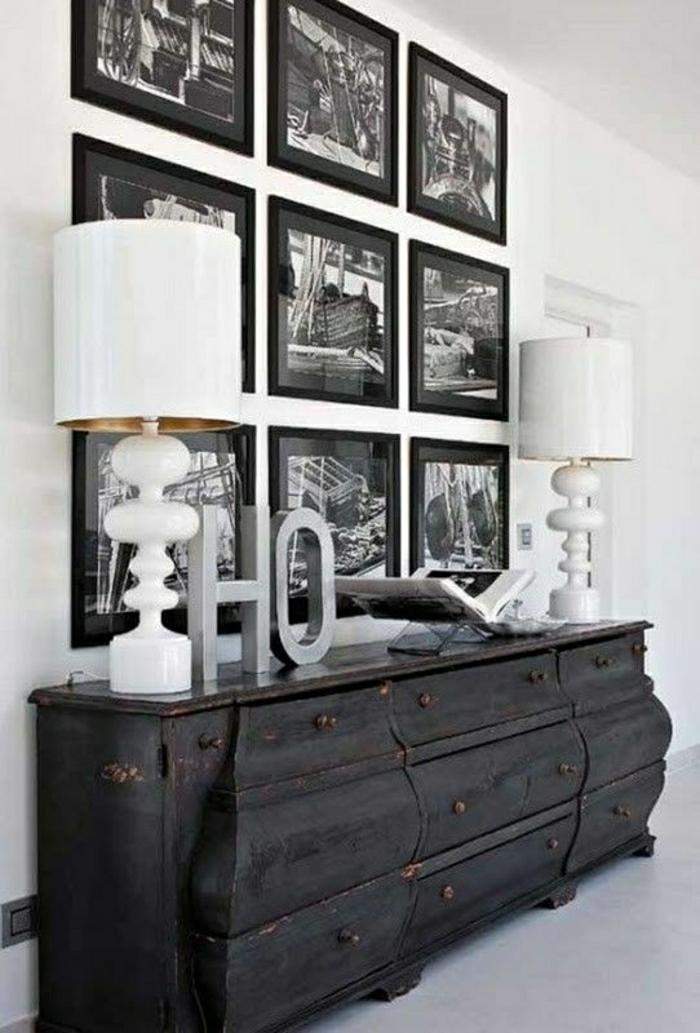 Kommode-Wandbilder-schwarz-weiße-Fotografie