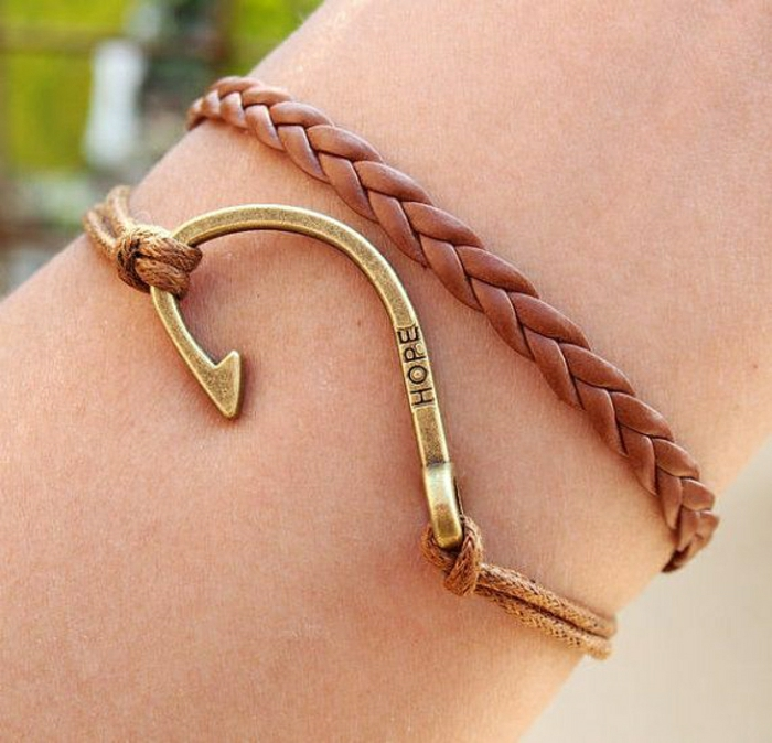 Leder-Armband-Metall-Element-Gravur-Hoffnung