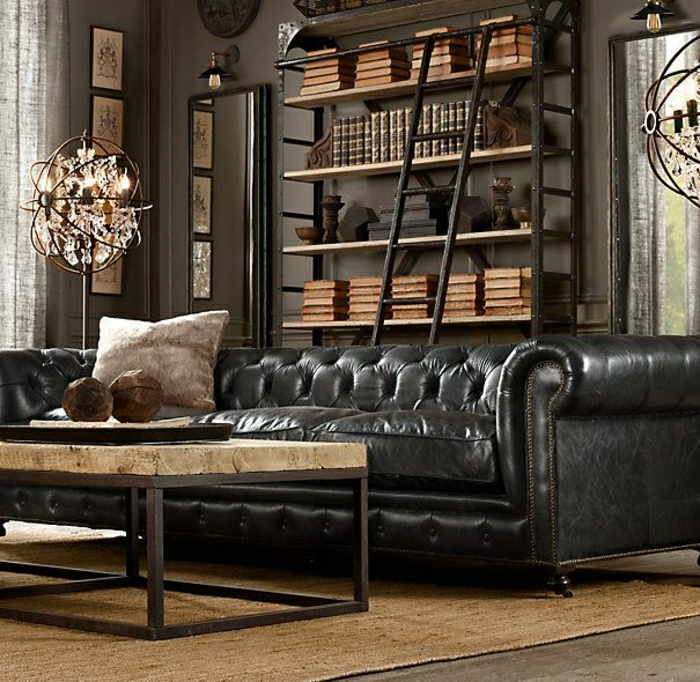 Leder-Chesterfield-Sofa-männliches-Zimmer