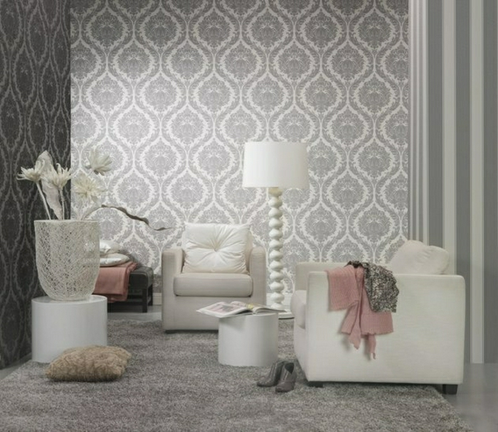 Luxus-Tapete-Barock-Muster-silber-weiß-3D-Effekt